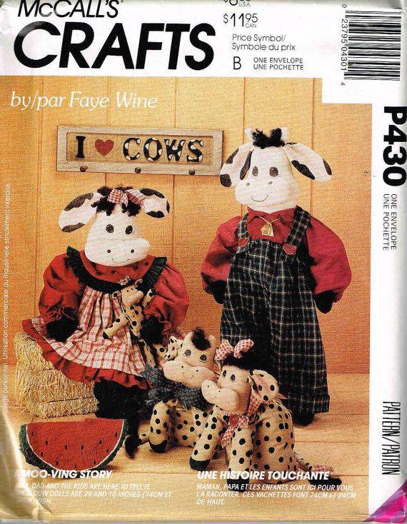 Mccalls 6319 P430 Stuffed Cow Dolls Plush Toy Farm Animal