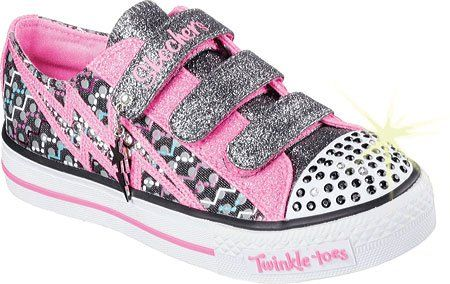 Skechers Girls' Twinkle Toes Shuffles Star Shock Sneaker,Black/Neon Pink,US 12.5 - http://all-shoes-online.com/skechers-3/skechers-kids-twinkle-toes-prolifics-light-up-kid-101
