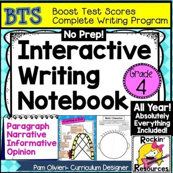 BTS (BOOST TEST SCORES) INTERACTIVE WRITING NOTEBOOK PROGRAM- BEST SELLER This is a COMPLETE WRITING WORKSHOP program with step-by-step instructions and creative ideas.  It has been proven to be 98% effective with exemplary scores on state tests AND STUDENTS LOVE IT so they are motivated to write!