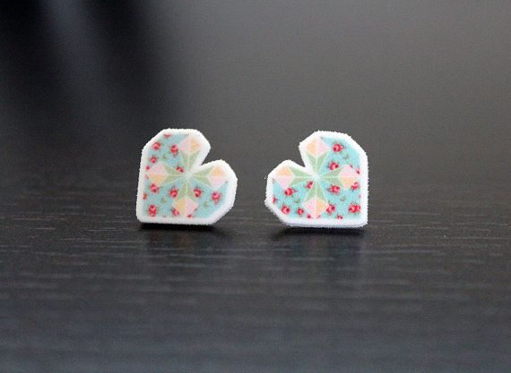 Sweet Heart Earrings  NEW Vintage Floral Pattern by PaperAlphabet, $10.00