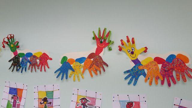 Bricolage chez Amiscol: de drôles de mille-pattes faits avec des mains.