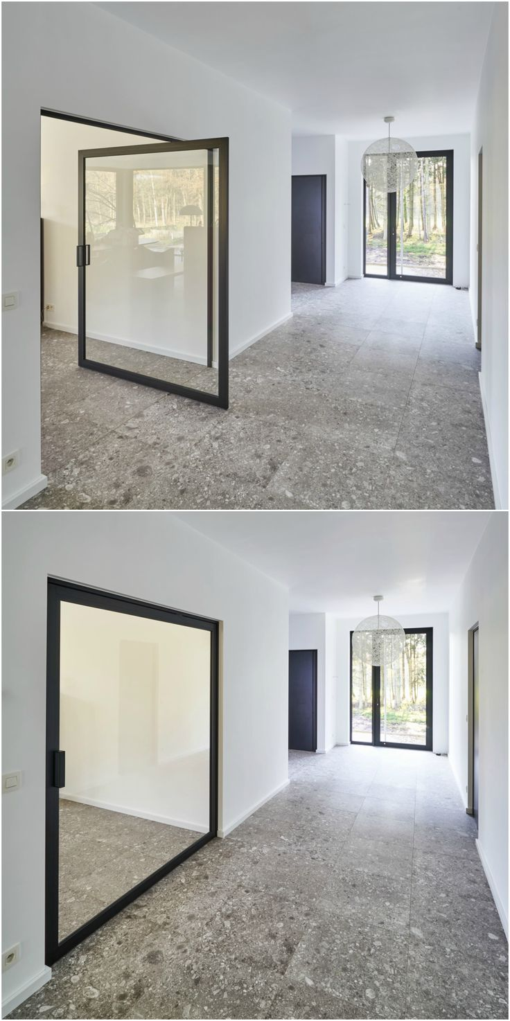 Stalen taatsdeur op maat met taatspunt op 1/3, zonder inbouwdelen in de vloer.