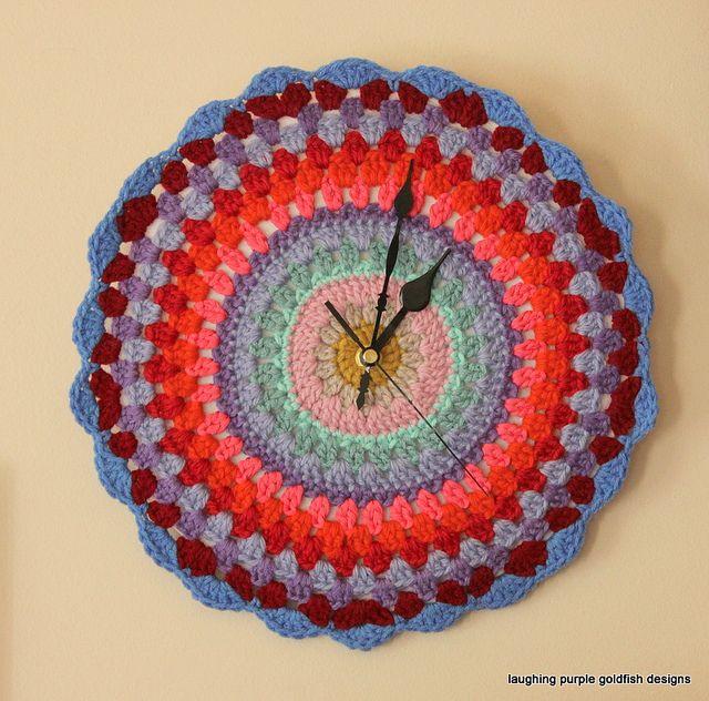 "Granny Clock by laughingpurplegoldfish, via Flickr ""always Crochet o'clock"" !!!!!"