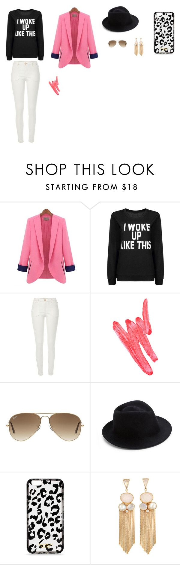 """pink i woke up"" by nattavr on Polyvore featuring moda, River Island, Ilia, Ray-Ban, Eugenia Kim y Victoria's Secret"