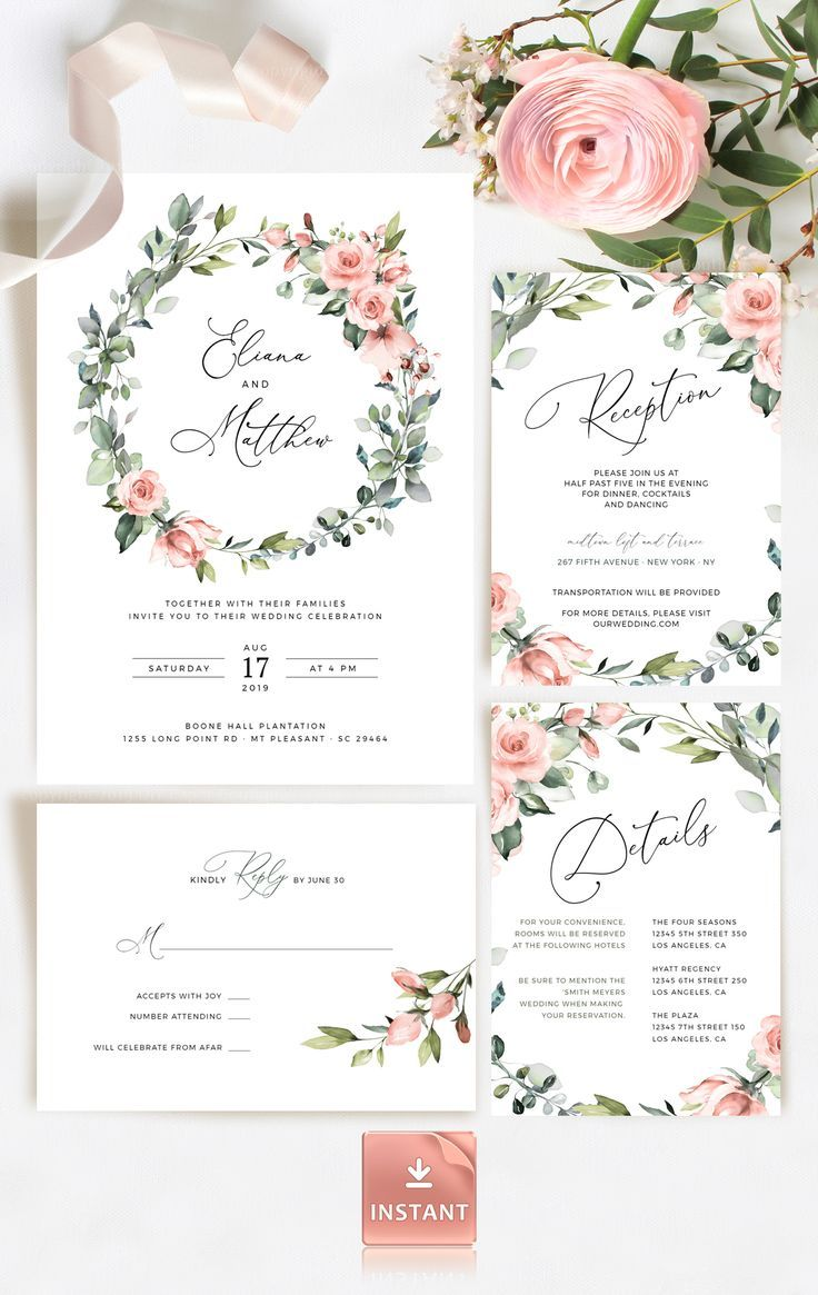 Editable details card Greenery details card template Botanical wedding invitation details Green and pink DIY wedding Watercolor rose
