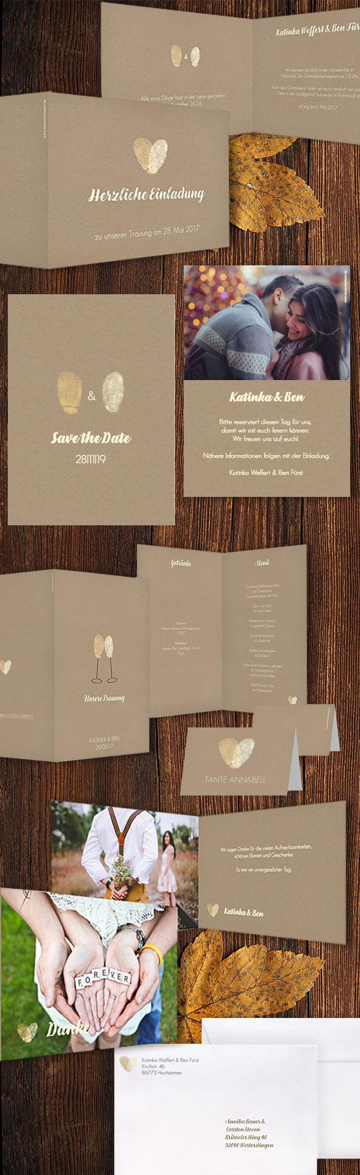 """Unsere Serie """"Fingerprint"""" für euch zum gestalten. Von der Save-the-Date Einladung über Die Dankeskarte für eure Hochzeit, könnt ihr alles selbst gestalten. Gedruckt wird auf hochwertigem Kraftpapier. Naturbelassen und 350g schwer ist das Papier."""