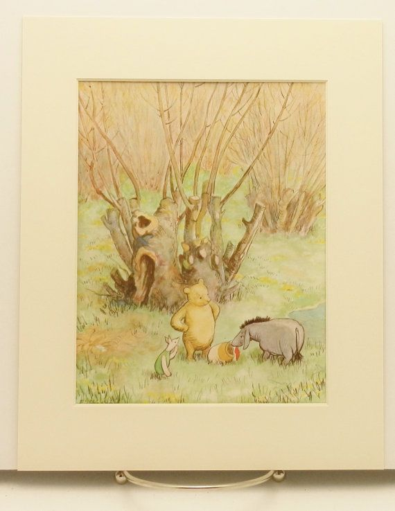 Classic winnie the pooh nursery print girls decor boys for Classic pooh nursery mural