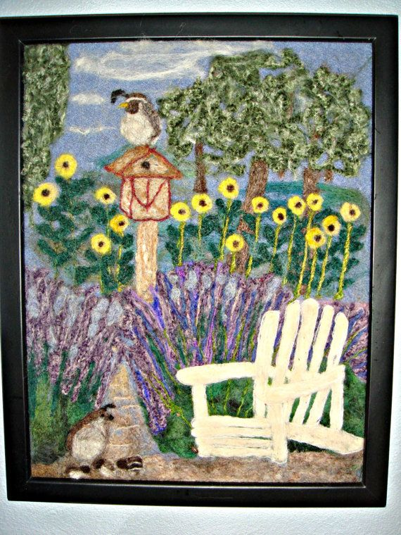 Needle felted art,Needle felt painting,wool painting, lavender in the garden