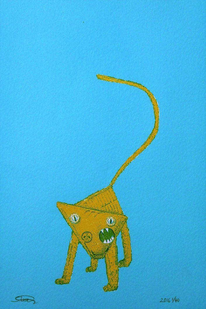 Silke Krah: Auf eigenen Füßen. Zweifarbige Offsetlithografie, handcoloriert #Frottage #MaxErnst #Mischwesen #Offset #Grattage #blue #blau #yellow #gelb #silkekrah #startyourart www.startyourart.de