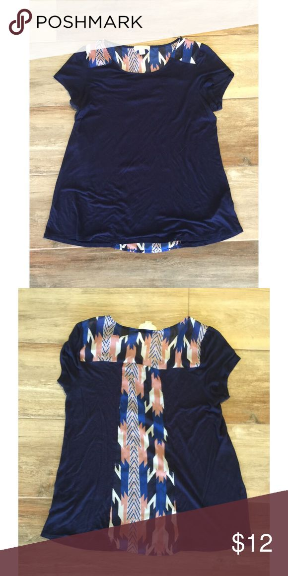 F21+ Navy Tribal Chiffon Back Tee Cute navy tee with tribal print chiffon insert. Looks adorable on! Size 1X. Plus size from Forever 21. Excellent condition. 🌸 Forever 21 Tops