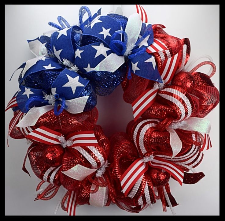 Beautiful Patriotic Flag Wreath for Memorial Day, 4th of July, Veterans Day. From www.facebook.com/overthetopwreaths