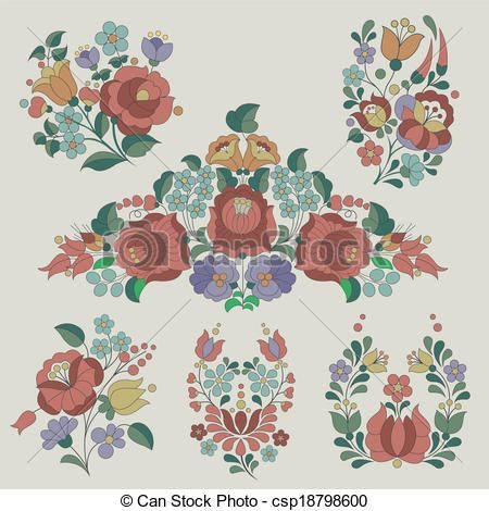 Hungarian traditional flowers decoration. Vintage style flower elements.