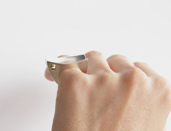 Sterling Silver and Brass Geometric Pinky Ring