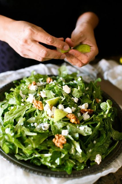 Fall Salad: pear, creamy Gorgonzola, candied walnuts, tossed with fresh arugula in a white wine vinaigrette. Under 10 minutes! Mitzi's Modification: cut back oil to about 3 tablespoons.