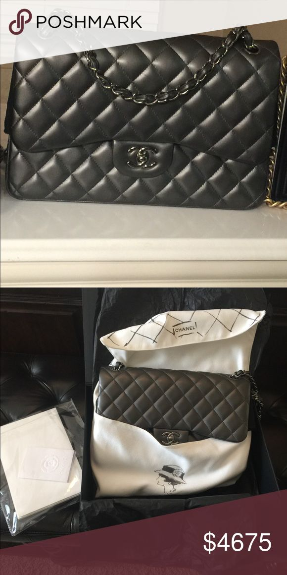 Chanel classic jumbo double flap ! Beautifull  like new Chanel classic jumbo double flap, dark gray with matallic leather, silver tone hardware , comes with packages box dustbag, authenticity card , booklet, ribbons, and Camilla flower, located pick up in Dallas is welcome ! CHANEL Bags Shoulder Bags