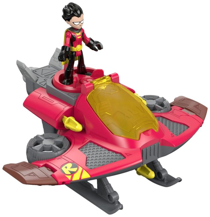 Fisher-Price Imaginext Teen Titans Go! Robin & Jet Figures. Turn Power Pad to fire projectiles on wings. Push trigger underneath jet to fire 3rd launcher. Robin fits in cock pit. Comes with Jet, Robin, and 5 projectiles. The more Imaginext Teen Titans Go! packs you collect, the more exciting, food-filled adventures kids can create using their own greatest power ... imagination.