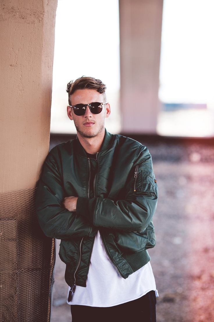 Rough. Man. Fashion. Attitude. Classy. White  Green. Clothing. Perfect Bomber. Jacket. Pocket. Zipper. Details. Material. Oversized. Tee. SIde Cut. Sunglasses. Outfit. Youth.