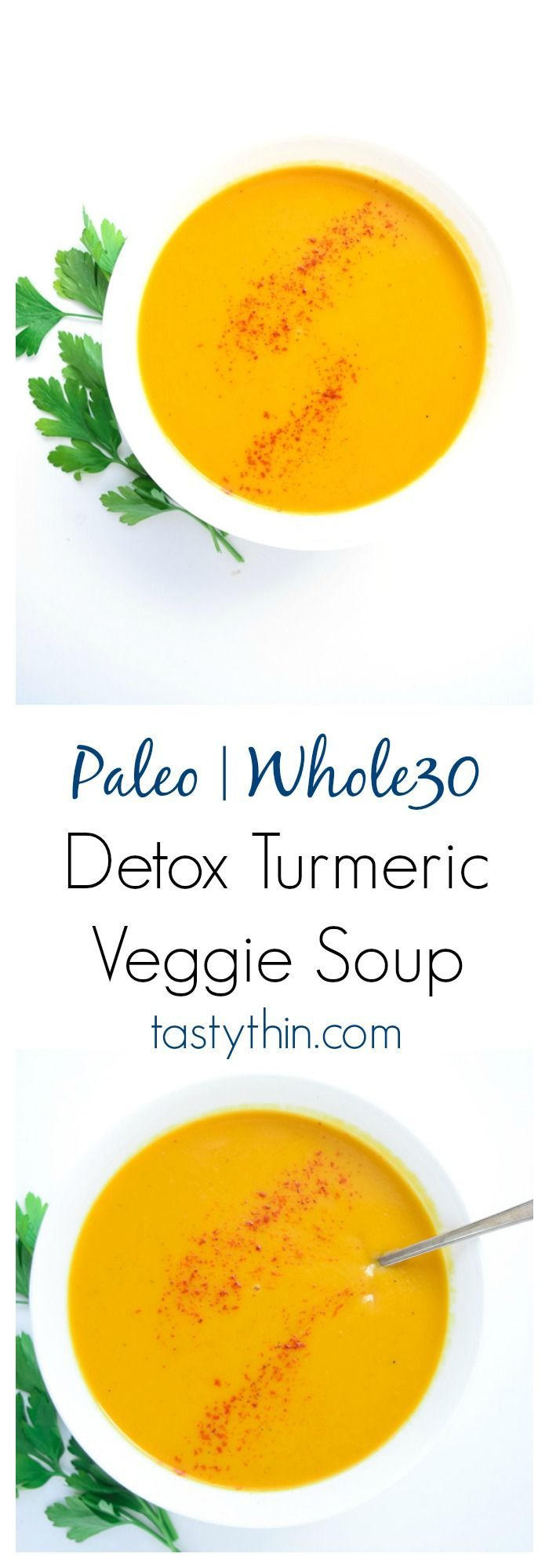 Instant Pot Detox Turmeric Veggie Soup (Whole30 Paleo) - a delicious, savory soup full of cleansing ingredients. Loads of veggies and spices combine for a flavorful, fragrant, and super nutritious recipe! | tastythin.com