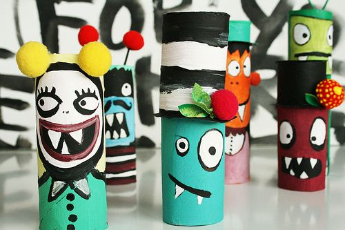 cardboard tube monsters