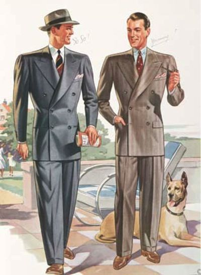 1950s double breasted, wide shouldered suits.