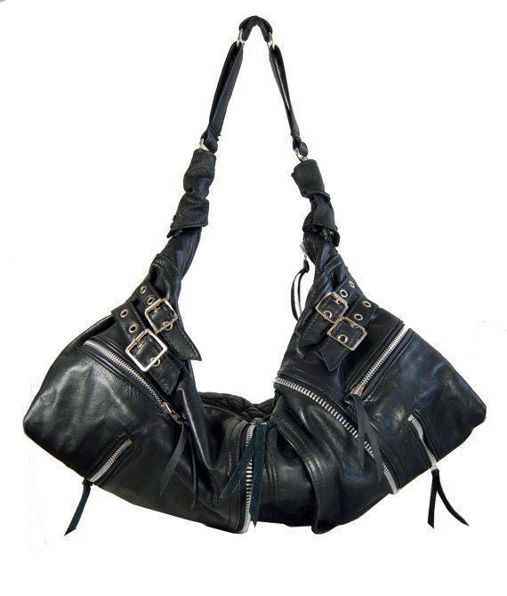 Bibi Handmade black leather twin size hobo biker by delacyonline