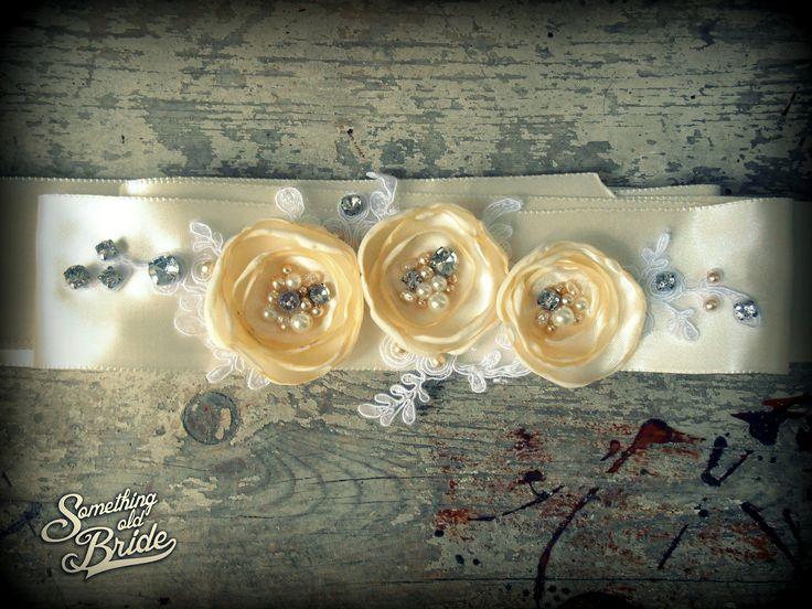 Custom made Vintage Floral Lace Bridal Belt www.somethingoldbride.com Facebook/Something Old Bride