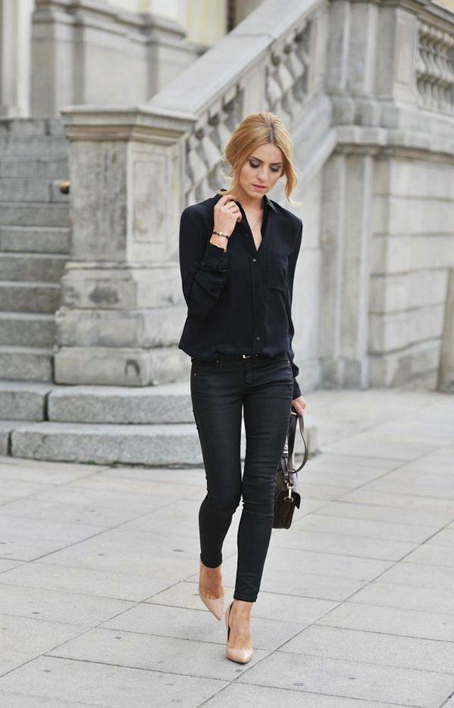Pinterest : 25 façons de porter le jean noir | Glamour : Jean Noir + Chemise Noire