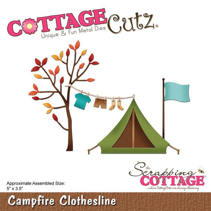 """CC-251  Cottage Cutz Die """"Campfire Clothesline"""""""