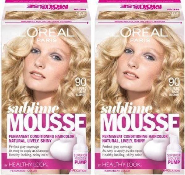 L'Oreal Paris Sublime Mousse Hair Color, 90 Pure Light Blonde NIB Lot of 2  | eBay