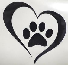 paw print with heart for Susan