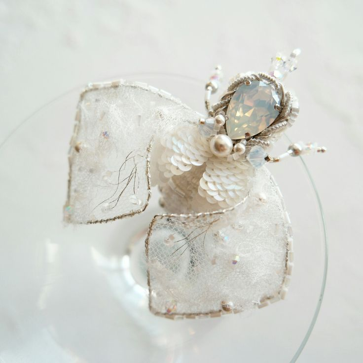 Bridal Something White - Beetle  Brooch - Crystal Royal White - White brooch  gift - Insect Brooch - Jewelry gift by leBARMjewel on Etsy