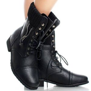 Rock a completely different look with stockings and Combat Military Womens Flat Ankle Boots