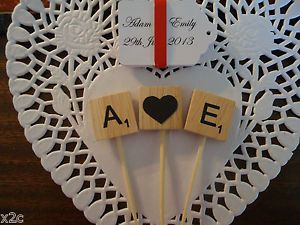 3 Wooden Scrabble Letters CUP Cake Wedding Cake Topper Engagement Party | eBay