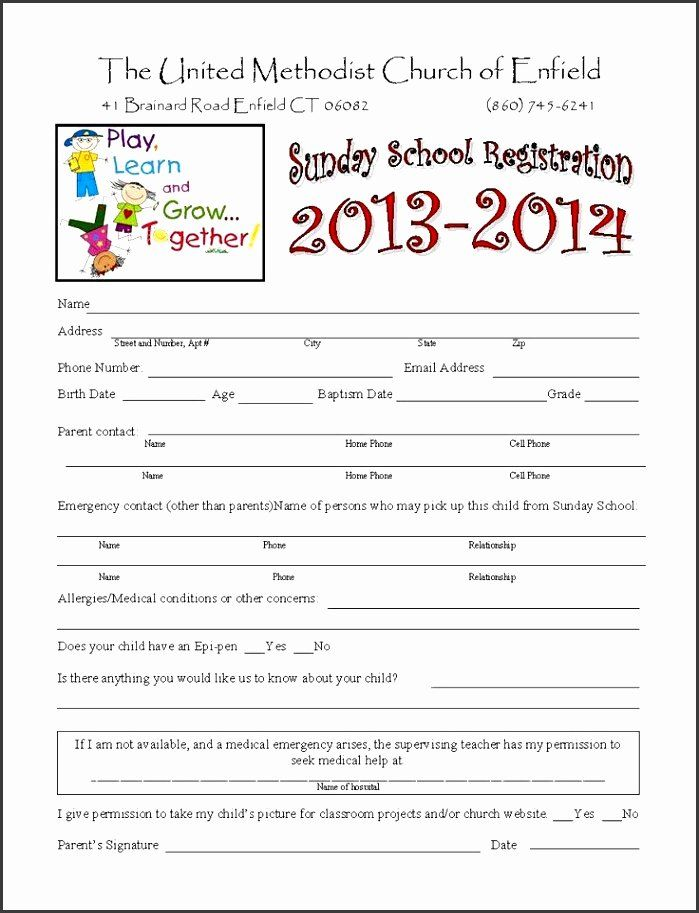 Camp Registration Form Template Word Beautiful Registration Form Child S Name Peterainsworth School Admission Form Toddler Sunday School Sunday School Kids