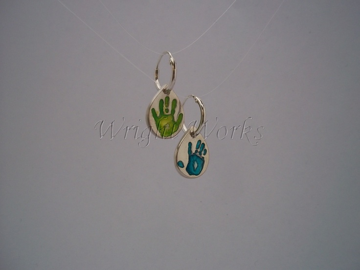 Mini teardrop handprint earrings on hoops. Fine silver with coloured resin