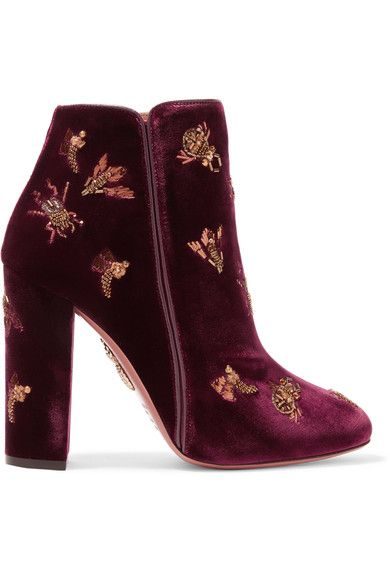 AQUAZZURA Fauna leather-trimmed embellished velvet boots. #aquazzura #shoes #boots