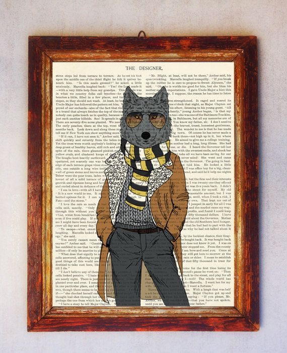 Wolf Art Print Wolf with Glasses Print Wolf Wall Art Book