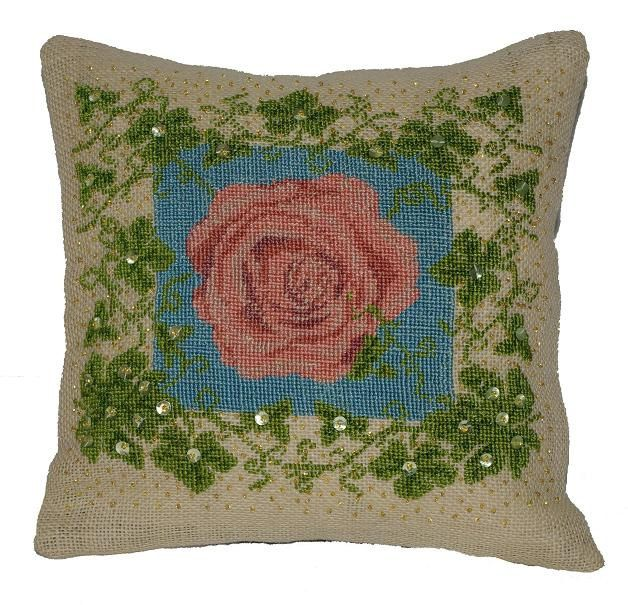 Needlepoint pattern IVY ROSE - cross stitch,embroidery,rose,burlap pillows,cross stitch,florals,botanical,pillow,cushion,diy,anette eriksson by anetteeriksson on Etsy
