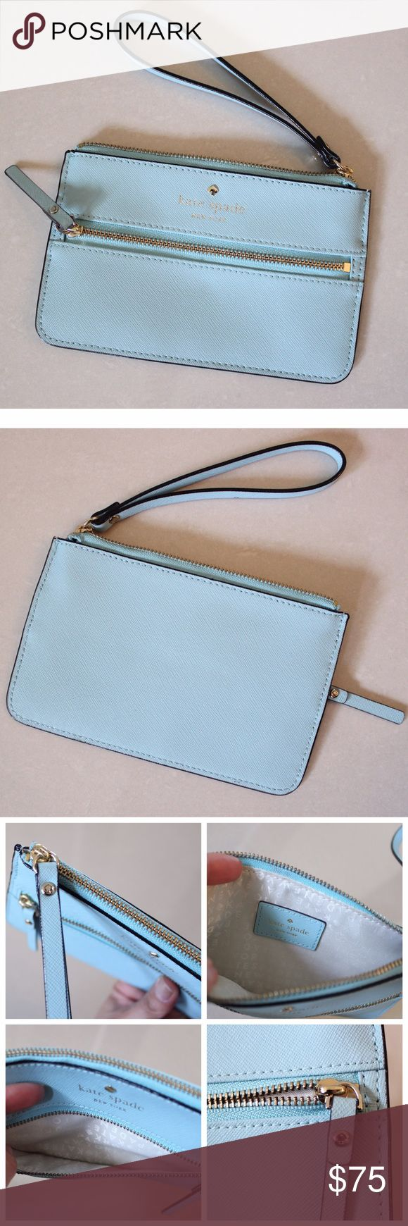 "KATE SPADE Mikas Pond Bee Baby Blue Wristlet Pre-owned in excellent conditions Retail $130 (new)  4 1/4"" (H) x 6 3/4"" (W)   MATERIAL Crosshatched Leather with matching trim 14-karat light gold plated hardware  DETAILS Wristlet with zip top closure Exterior zipper pocket  🚫No trades please. 🚭 Smoke free home. If you have any questions about this item I will be more than happy to answer them. kate spade Bags Clutches & Wristlets"