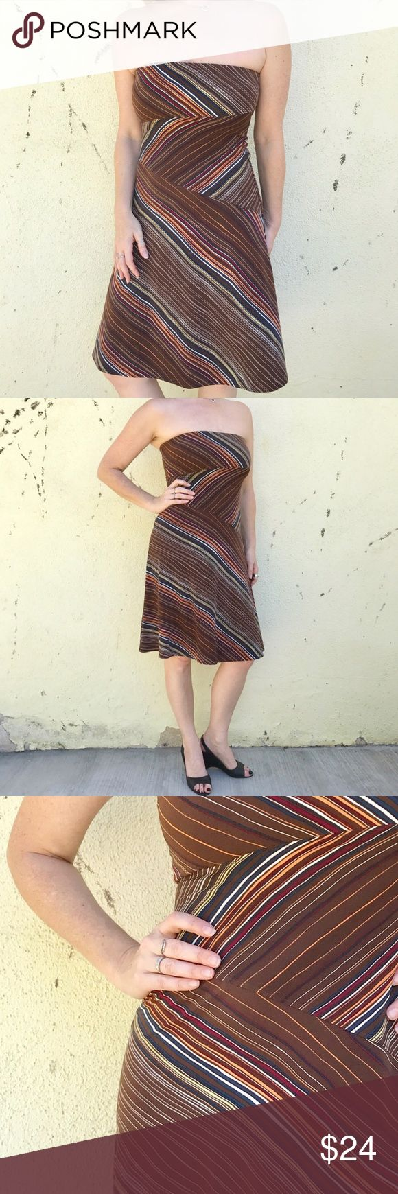 BCBGmaxazria DRESS STRAPLESS MIDI brown striped M Strapless stretch pull-on midi dress by BCBGMAXAZRIA. Brown with white, red, blue and orange. Holds in bust and fits at waist then flairs in an A-line drape. Great frock! (11.16) BCBGMaxAzria Dresses Midi