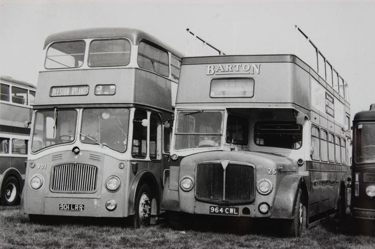 Barton - Vintage monochrome images. Northern Counties bodied Barton BTD2 (901), next to AEC Regent V tree lopper (25), (former number 1142 in the main fleet)