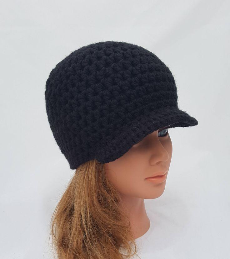 womens hat, girls beanie with brim, crochet hat, womens black hat, brim beanie, vegan friendly, womens fashion, mens fashion, unisex hats by crochetHQ on Etsy