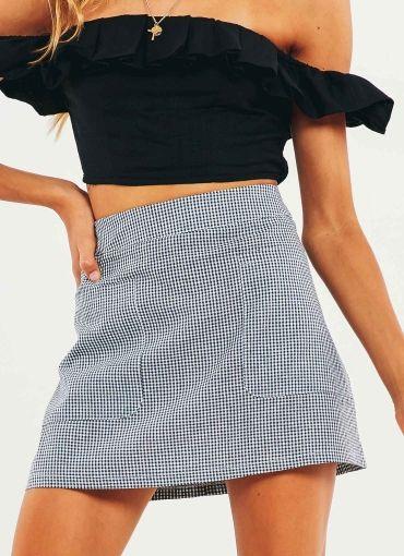 Balance Is Key Skirt - Navy Gingham