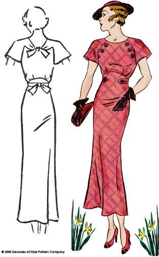 """Art deco dress, 1930s fashion, Hollywood glamour- sewing pattern , """" Decades of style """" pattern...."""