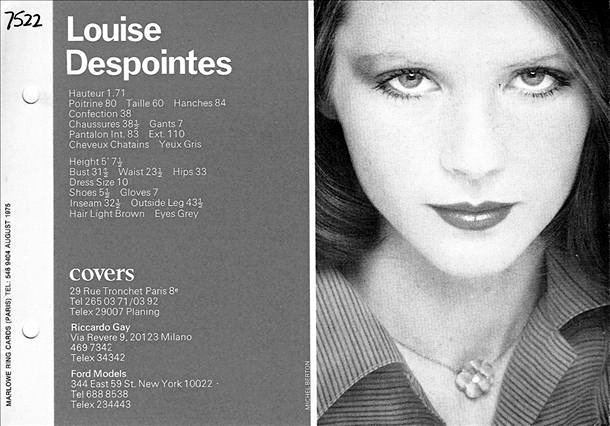 LOUISE DESPOINTES 1975: Model Comps, Despointes 1975