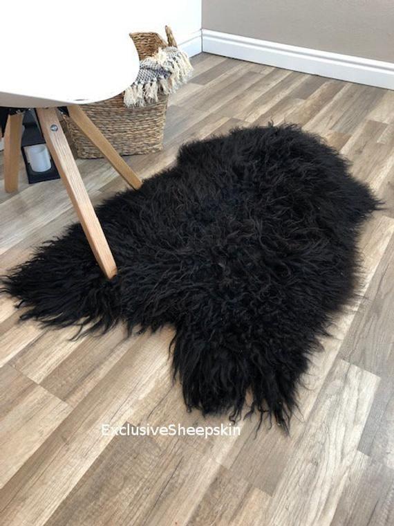 Black Natural Color Genuine Sheepskin Rug 100 Sheep Skin Etsy In 2020 Sheepskin Rug Rug Decor Childrens Playroom