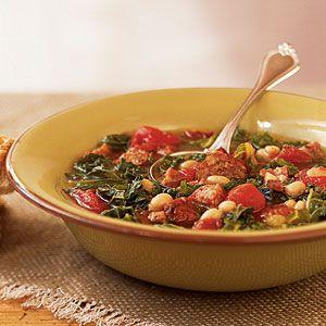 101 Healthy Soup Recipes | Sausage, Kale, and Bean Soup | CookingLight.com