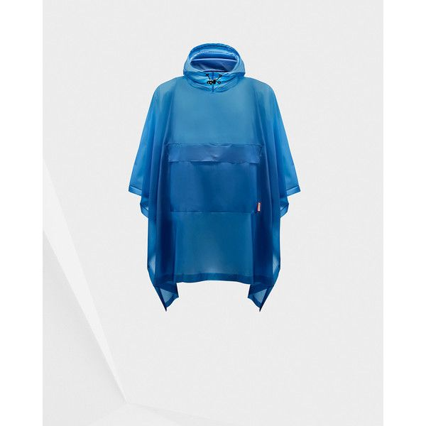 Hunter Blue Vinyl Poncho (£175) ❤ liked on Polyvore featuring outerwear, blue, waterproof poncho, hooded poncho, style poncho and lightweight poncho