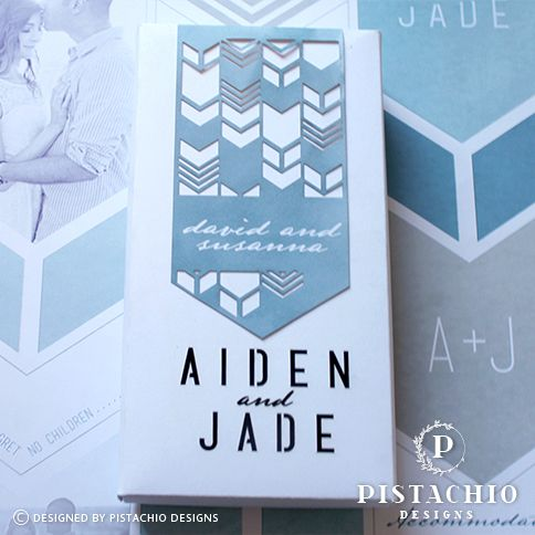 Geometric box wedding invitations by www.pistachiodesigns.co.za