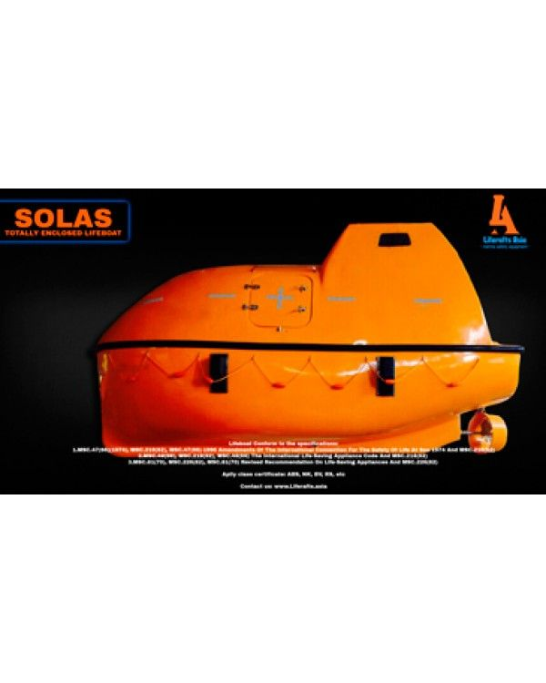 LIFEBOAT TOTALLY ENCLOSED SOLAS 33 PERSON - COMMON TYPE 33 PERSON TOTALLY ENCLOSED SOLAS  Dimension / Size: 5.8 x 2.32 x 3.1m Capacity / Person: 33 Person Full weight: 5006/5344kg  Lifeboat Conform to the specifications:  1.MSC.47(66)(1974), MSC.216(82), MSC.47(66)-1996 Amendments Of The International Convention For The Safety Of Life At Sea 1974 And MSC.216(82) 2.MSC.48(66), MSC.218(82), MSC.48(66) The International Life-Saving Appliance Code And MSC.218(82)  3.MSC.81(70), MSC.226(82)…